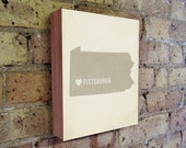 Pittsburgh Art Print - Pitt - Pittsburgh Art - Pittsburgh Pennsylvania - I Love Pittsburgh - Wood Block Art Print