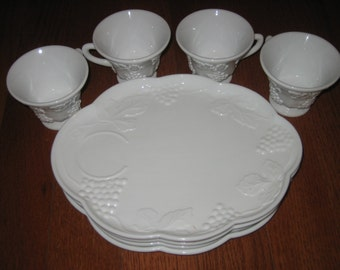 CLEARANCE Colony Harvest, Milk Glass, Snack Set, Vintage 1950's, 8 Piece Set FREE SHIPPING