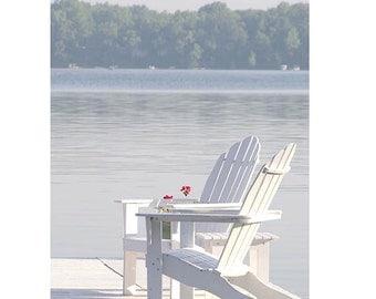 "Beach Photography-Fine Art Photography-Coastal Home Decor-Adirondack Chairs-Blue- White Print-""Sunday Morning"""