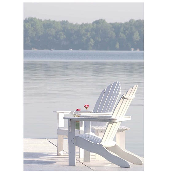 "Beach Photography-Fine Art Photography-Coastal Home Decor-Adirondack Chairs-Blue- White Print-""Sunday Morning"""