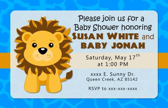 Blue lion baby shower invitation or birthday invitations by bc paper il570xn filmwisefo