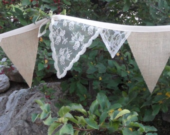 Champagne Beige ROSE Lace Burlap Beach Wedding Decoration Bunting 15 Ft Garland Banner
