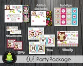 Owl Party Package - Owl Birthday Invitation