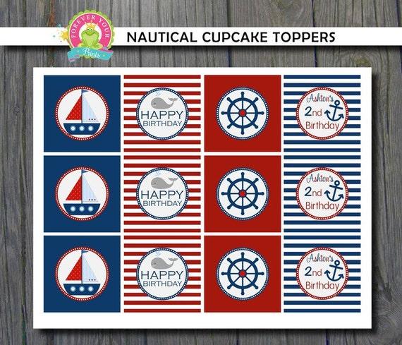 Nautical Sailboat Cupcake Toppers / Nautical Cupcake Toppers / Sailboat Cupcake Toppers / Nautical Party / Nautical Birthday / Sailboat