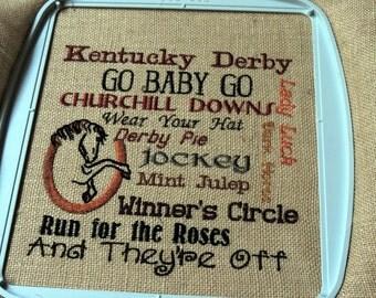 Kentucky Derby Subway Art Embroidery on Burlap