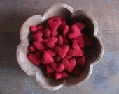 Felted wool hearts, Red, wholesale set of 100, Etsy wholesale bulk hearts for craft supply, red wool hearts for Valentine's Day, bowl filler