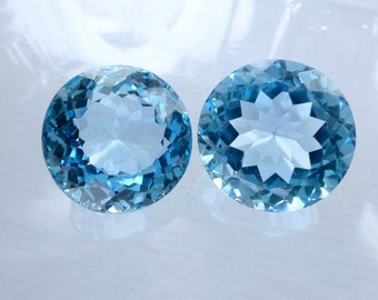 BLUE ToPAZ. Swiss Blue. HuMONGOUS. Portuguese Cut. ROUnD. MATched PAiR. 2 pc. 35 cts. 15 mm (Bt277Ab)