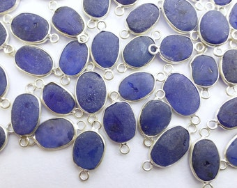 SAPPHIRE. Rough Sapphire. CONNEcTOR LiNKS. Freeform. MEDiUm SiZe. Sterling Silver. 5 pc. 21.0 cts. 10-12 mm (C-S1-med-silv)