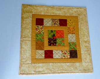 Fall Quilted Table Topper, Country Table Runner Fall Colors, Primitive Table Topper, Table Quilt, Patchwork Quilted Table Topper