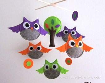 Baby Mobile - Baby Crib Mobile - owls and circles baby mobile - flying owls crib mobile - purple and orange owls mobile - baby boy mobile
