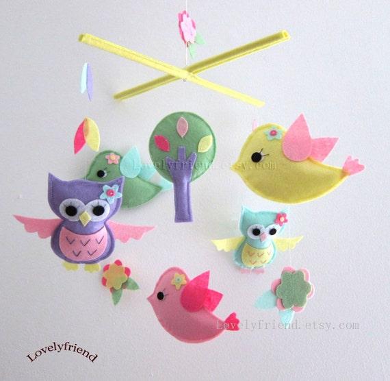 "Baby Mobile - ""Summer Greeting"" Nursery Mobile - Baby Girl Handmade Crib Mobile - Yellow and Pink mobile "" (Match your bedding)"