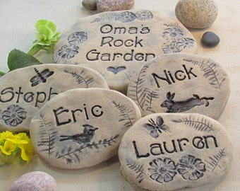 Personalized Family gift / Artistic Garden stones with