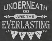 Card: Underneath are the Everlasting Arms chalkboard encouragement card - printable art
