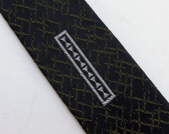 Vintage 60s Skinny Tie Necktie Black with Olive Green Pattern and White Embroidered Design