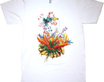 Sprout, Hands and Hummingbird. Tshirt, Vneck and Tanktop.