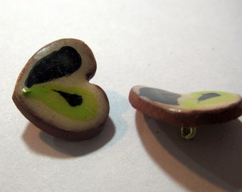 Handmade ceramic buttons -  pair of small black and green heart pottery buttons C8