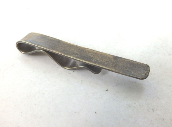 Mens Brass Tie Clip---Smooth  Texture with Antique Finish
