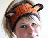 Crochet Fox Ear warmer headband headwrap - Adult size