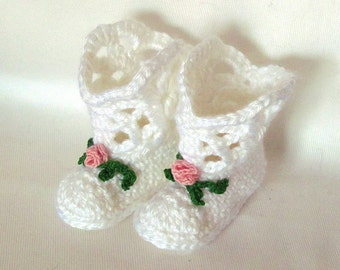 White Cowgirl Baby Boots, White Booties, Rose Booties, Tiny Rose Baby Boots, White Baby Booties, White Booties, White & Rose Baby Booties