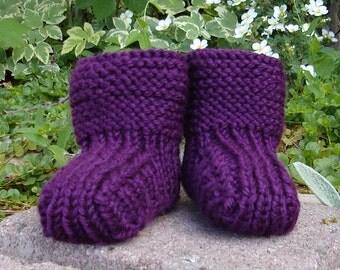 Hand knit baby booties - 'Prairie Booties'