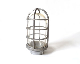 Vintage Industrial Explosion Proof Wire Cage Lamp Fixture … Killark Brand, Vintage Modern, Metal and Glass Gray Ceiling Light, Safety Light