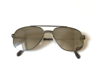 Vintage 1980s Luxottica Sunglasses … Italy, Silver Frame, Gray Lens, Funky Hipster Elvis Shades, Sun Glasses, Retro Eyewear, Mens or Unisex
