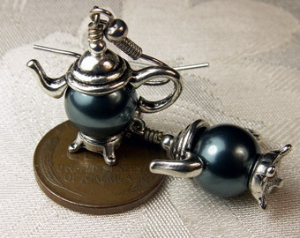 Tahitian Blue Crystal Pearl Silver Teapot Victorian Earrings, Vintage Style Teapot Charm Dangles Antiqued Silver Titanic Temptations Jewelry