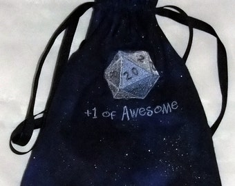 Lined Drawstring Dice Bag with Embroidered d20