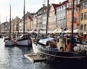 Nyhavn Copenhagen Print - Denmark Photography Canal Photo Boats Ship Photography Scandanavian Art Danish Architecture Photo Morning