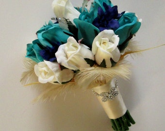 Ostrich Feathers, Teal, Blue and White Bridal Bouquet, Rose Bridal Bouquet, Rhinestones, Elegant Bridal Bouquet, Silk Wedding