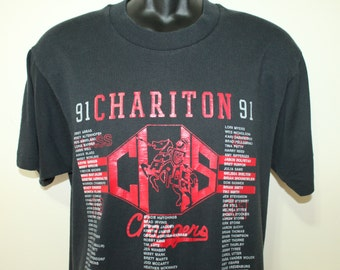 Chariton Chargers Iowa 1991 vintage black Screen Stars t-shirt M/L 50/50