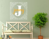 Personalized name wall decal - Swirly Square Preppy Monogram