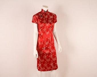 1950s Red Silk Cheongsam Dress - Vintage Wiggle - VLV Bombshell Dress  -S