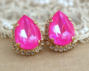 Neon pink Stud earrings, Drop earrings,Swarovski pink earrings, Trendy stylish Rhinestone earrings 14 K Gold plated Swarovski jewelry