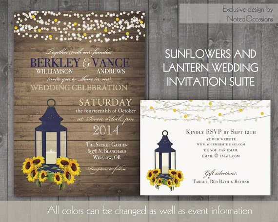 Cheap Sunflower Wedding Invitations: Sunflower Wedding Invitation Rustic Lantern By NotedOccasions
