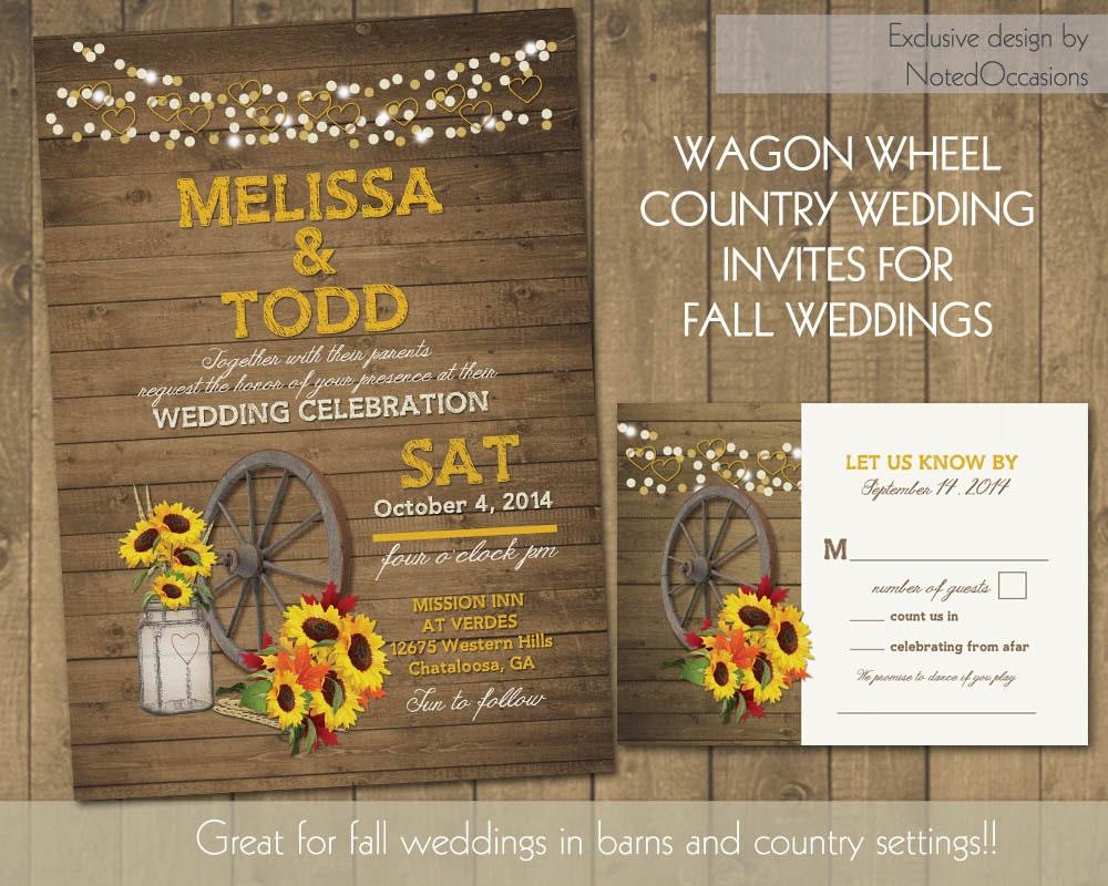 Rustic Fall Wedding Invitations: Rustic Sunflower Wedding Invitations Suite By NotedOccasions