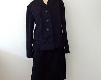 1960s Black Wool Suit / cashmere soft jacket and pencil skirt / vintage fashion