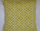 30% OFF!!  Green and Ivory Designer Indoor/Outdoor Lattice Pillow Cover 20x20