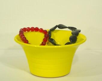 Ceramic Bracelet Holder, Ion Sun, Yellow Glaze, Ribbed Vessel, Handmade, Jewelry Organizer, Pottery Art,  MJS, 208