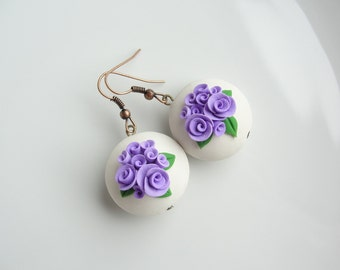 Lilac rose bead earrings handmade from polymer clay
