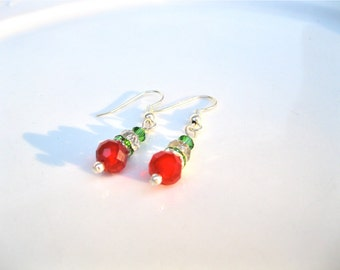 """Christmas Style Earrings, Traditional Style, Preppy Style, Swarovski And Chinese Crystals, Red and Green, """"It's That Time Of The Year Again"""""""