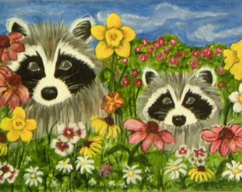 Raccoons Garden Lookout  Print of Original Painting ACEO Card/dafodil/daisy