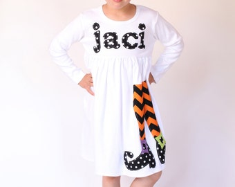 Fall Dress - Halloween Dress - Witch Shoes Applique - You Choose Dress Color and Sleeve Length