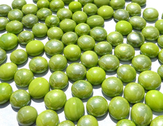 Iridescent Lime Green Raindrop Beaded Curtain: Lime Green Iridescent Mini Glass Gems Mosaic Tiles 250