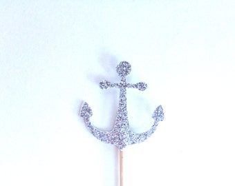 24 Silver Glitter Anchor Cupcake Toppers - Food Picks - Party Picks