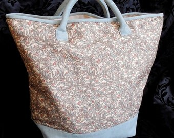 Large Carry-All Tote in Canvas and Suede