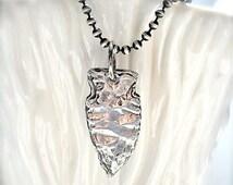 Silver Arrowhead Pendant, Hand Carved .  Native American Style . Custom Design .