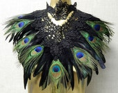 Peacock Victorian Black LACE Coque Feather Corset Collar Romantic Elegance