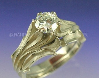 1ct. MOISSANITE ALPINE LILY Wedding Ring Set. Made to order in your choice of 14k White gold, 14k Yellow gold, 14k Rose gold