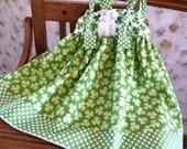 St. Patrick's Day Green Shamrock Knot Dress, girls size 6-12 months to 5